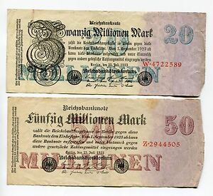 German 1923 Hyperinflation notes 20 and 50 Million Set of 2 RARE Deutschemark