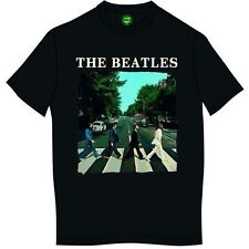 The Beatles Mens T Shirt Black Abbey Road Image Band Logo Official XXL