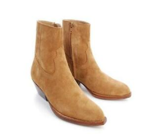 Mens Suede Leather Pointed toe Side zip Chelsea Boots Formal Party Shoes Plus SZ
