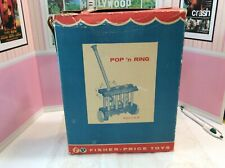 Whimsical Vtg Fisher~Price 1959 Pop 'N Ring #809 Push Pull Wood Toy in box