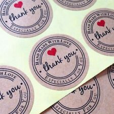 *NEU-ANGEBOT* 100 Aufkleber THANK YOU *HANDMADE WITH LOVE* Sticker Hochzeit