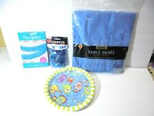 Blue Monster Plates Table Skirt Confetti Garland Party Decorations Lot NEW
