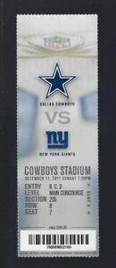 2011 NFL NY GIANTS @ COWBOYS FULL UNUSED FOOTBALL TICKET SUPER BOWL XLVI CHAMPS