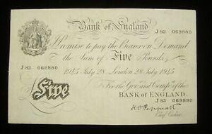 White Fiver £5 Banknote K O Peppiatt J83 prefix 28th July 1945