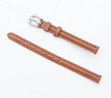 8mm Quality Genuine Leather Padded Tan Light Brown Watch Band - Size Regular