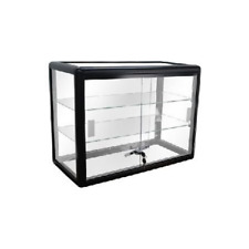 Black Framed Tempered Glass Counter Top Display Case With Shelves And Lock