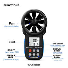Anemometer Wind Speed Meter Temperature Air Velocity Gauge Tester CFM CMM NTC
