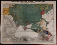 Southern Russia Black Sea Ethnographic 1878 scarce map Petermann Ethnography