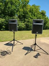 2 Peavey PA Speakers 15 Inch Woofers with Stands, 2 power cords and 2 cables