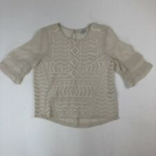 Lucky Brand Ivory Aztec Embroidered Sheer Boho 3/4 Sleeve Top Blouse Sz S
