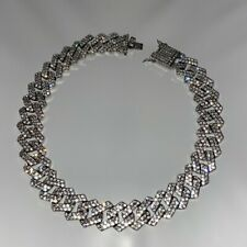 Mens Silver Chain Belcher Chain Choker 18inch Iced Out Trapstar CZ Hiphop Bling