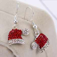 Christmas Xmas Crystal Red Santa Hat Stud Earrings Women Party Jewelry Gift HOT