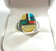 NAVAJO MARY LINCOLN STERLING SILVER TURQUOISE SPINY OYSTER OPAL SIZE 10.5 RING