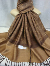 PAISLEY PRINT PASHMINA CASHMERE SCARF SHAWL WARP STOLE ALL SEASON WEAR BROWN