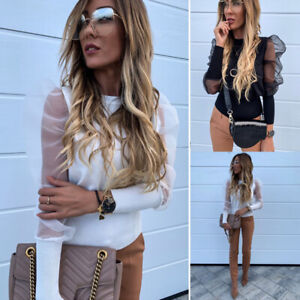 Women Mesh Sheer Puff Sleeve Tops Pullover Lady Xmas Party T Shirt Blouse Jumper