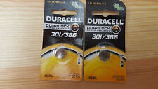 Lot of 2 Duracell Duralock Silver Oxide Battery Tab 301 386 D301 D-301 New [GS]