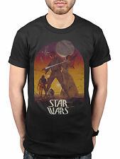 Official Star Wars Retro Sunset Poster T-Shirt Darth Vader Movie Luke Skywalker