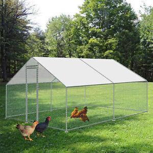 Chicken Run 10ftx10ft Walk in Coop f/ Poultry Dog Rabbit Hen Cage Pen Metal Door