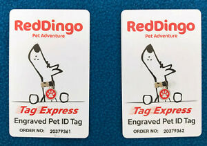 Lot of 2 RedDingo Red Dingo Tag Express Card for Engraved Pet ID Tag - NEW