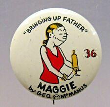"1930's MAGGIE #36 Western Theatre Premium large 1"" COLOR pinback button"