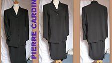 Tailleur veste+jupe femme Pierre CARDIN polyester noir EXCELLENT ETAT