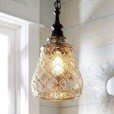 Pier 1 Imports Quatrefoil glass hanging corded pendant LIGHT  w/ bronze - NEW