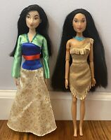 Disney Store Disney Princess Doll Lot Mulan Green Dress Pocahontas Good Hair