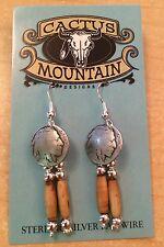 Beautiful Bone Earrings Indian Head Concho Handmade In USA Cactus Mountain Desig