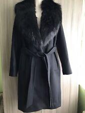 Zara Black Coat With Detachable Faux Fur Collar Wool Blend Size S, Uk8-10