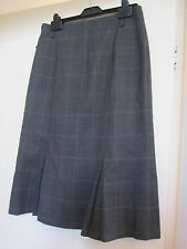 Long Smart Grey & Purple Check Hobbs Box Pleat Wool Skirt Size 10 - missing belt