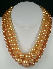 Vintage 4 Strand Lucite Graduated Bead Necklace -Faux Champagne Pearl, Hong Kong
