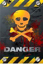 PREMIUM Autoaufkleber Vorsicht Pirat Danger Skull Totenkopf 8,4x5,4 cm Aufkleber