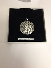 Celtic Interlaced IP Pewter Pendant on a Black Cord Necklace