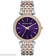 NEW MICHAEL KORS MK3353 LADIES TWO TONE PURPLE DARCI WATCH - 2 YEAR WARRANTY