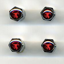 Fireball Whisky 4 Chrome Plated Brass Tire Valve Caps Car/Bike/Golf Carts