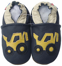 carozoo forklift navy blue 3-4y soft sole leather toddle shoes