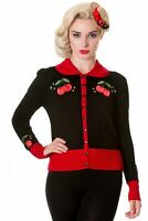 Black Red Vintage Cherry Peter Pan Collar Rockabilly Cardigan BANNED Apparel