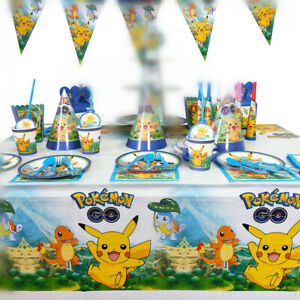 POKEMON PIKACHU BIRTHDAY PARTY PACKAGE TABLE CLOTH LOLLY LOOT BAG PLATE BANNER