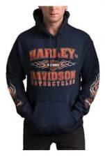 Harley-Davidson Men's Scorch B&S Pullover Poly-Blend Hoodie - Navy Blue