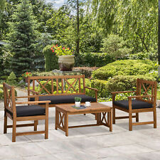 Outsunny 4 Piece Solid Acacia Wood Outdoor Patio Furniture Chat Set w/Cushions