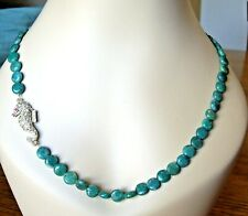 NATURAL GREEN AGATE NECKLACE WITH STATEMENT GEM SET SEAHORSE MAGNETIC CLASP