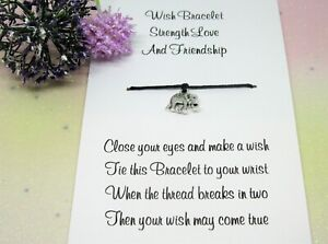 Strength Love Friendship Wish Bracelet Gift Card Elephant Anklet Birthday Love