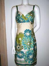 ANN TAYLOR Women Sleeveless Green Beige Floral Cotton Sheath Dress sz. 2 S used