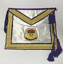 Vintage Purple & White Past Master's Masonic Apron ~Part Of Big Collection~