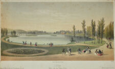 c1850 Lyon Parc de la tete d'or Tinted Lithograph by Becquet after Deroy