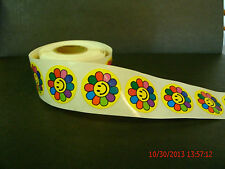 Flower Power Smiley Face Label Stickers 250 Roll Count