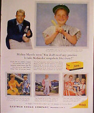 1959 Mickey Mantle Yankees Baseball Eastman Kodak Camera Film Sports Print AD