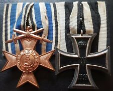 ✚7714✚ German Prussian WW1 mounted medal group Iron Cross Bavarian Merit Cross