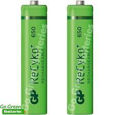 2 x GP AAA Rechargeable Batteries 650 mAh Recyko HR03 DECT Phone, Solar Lights