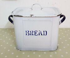 Original Vintage 37 cm White & Blue Enamel Bread Bin with Lid